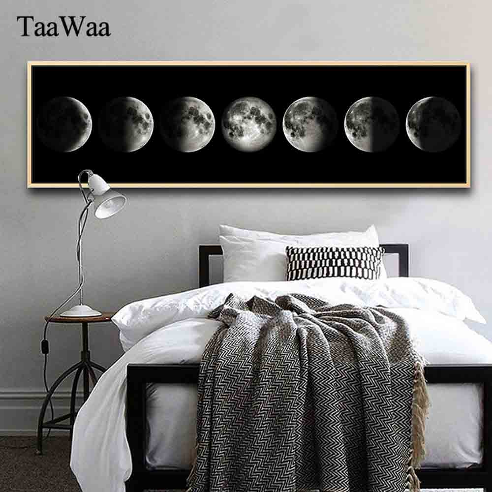 TAAWAA Nordic Minimalist Art Eclipse of The Moon Canvas Poster and Prints Painting Universe Wall Picture for Living Room  Decor