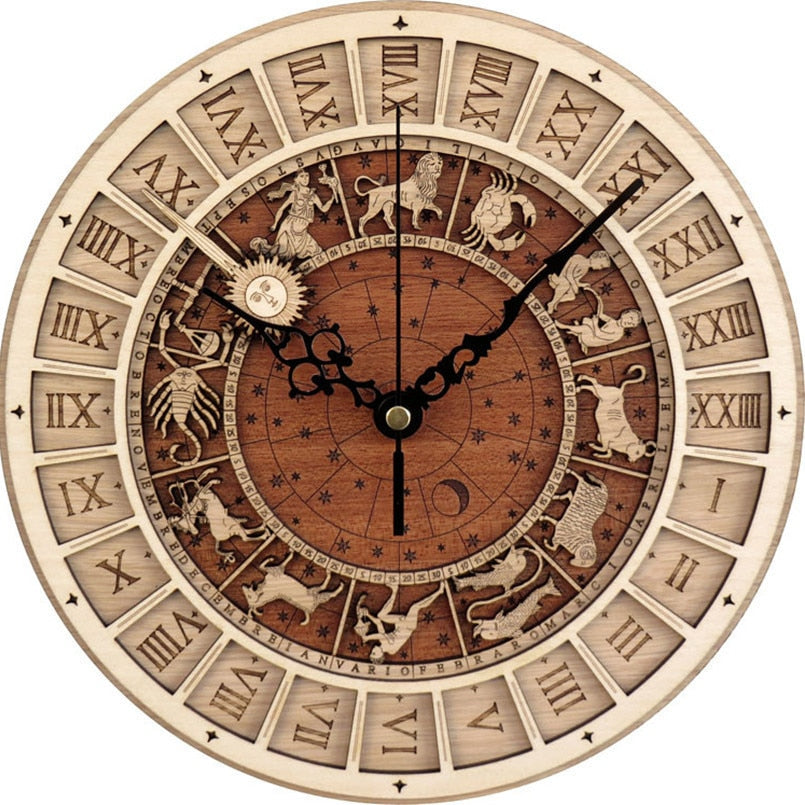 New Antique Style Clocks Astronomical 3D Wall Clock For Home Quartz Vintage Constellation Silent Movement Wall Watch For Room