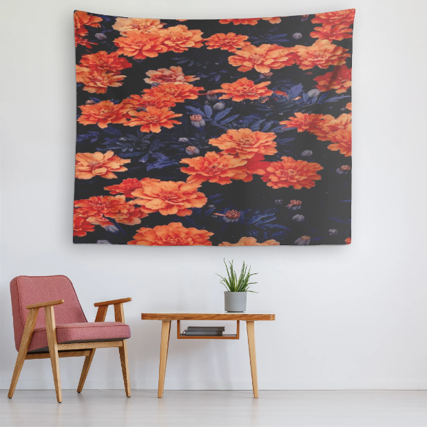 Floral Tapestry Orange/Navy Flower Pattern