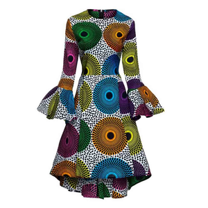 African Kitenge Wax Print Ankara High Low Hem Above Knee Ruffles Long Flute Sleeve