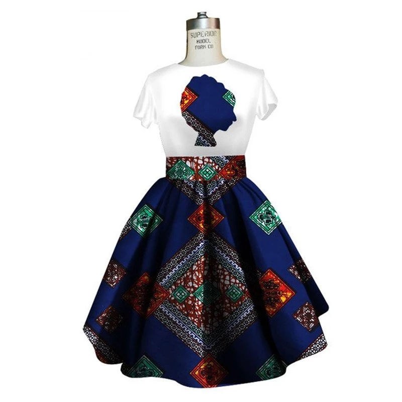 Traditional African Dashiki Ankara Kitenge Wax Print Tee Shirt + Dress Ensemble