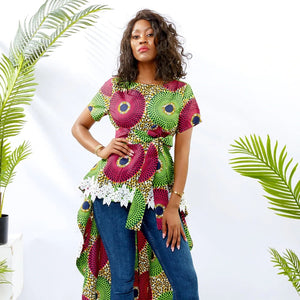 Traditional African Kitenge Dashiki Print Design Fishtail Hi-Lo Hem T-Shirt