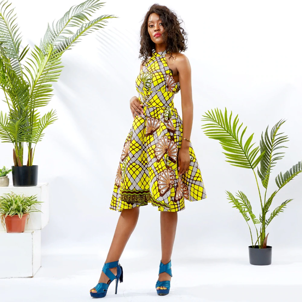 Traditional African Dashiki  Kitenge Wax Print Knee Length Summer Sleeveless Yellow Party Dress