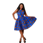 Traditional African Dashiki  Kitenge Wax Print Knee Length Summer Sleeveless Party Dress