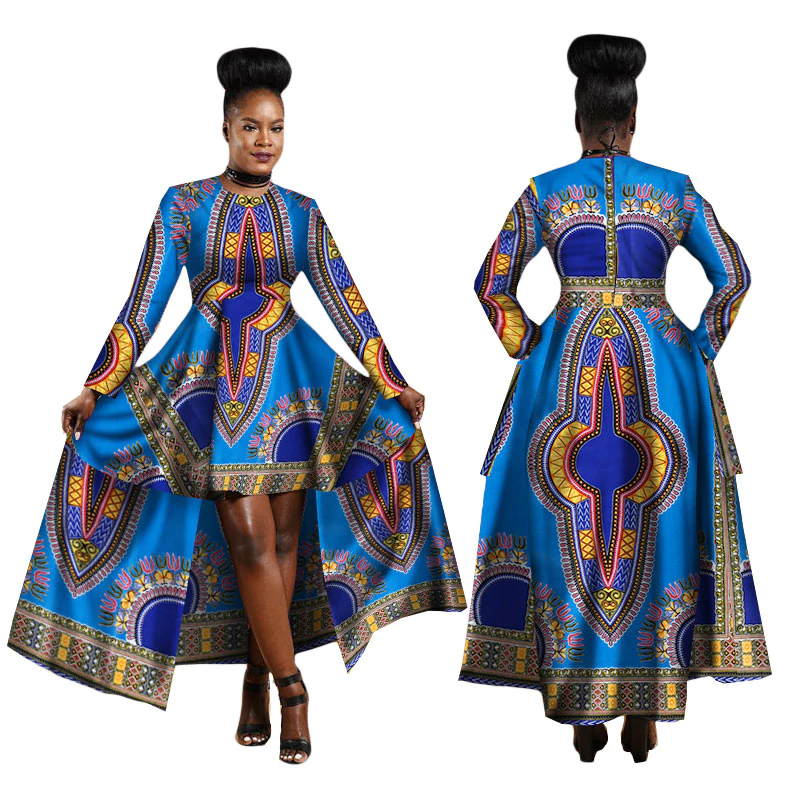 Traditional African Dashiki Ankara Kitenge Wax Print Batik Long Sleeve Above Knee Dress With Waist Cape