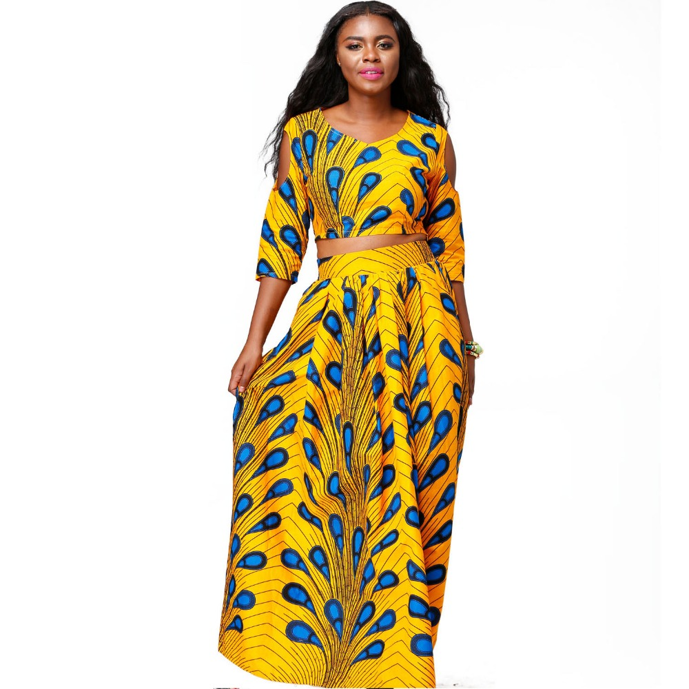 Traditional African Kitenge Wax Print Ankara Long Skirt + Long Sleeve Top Dress
