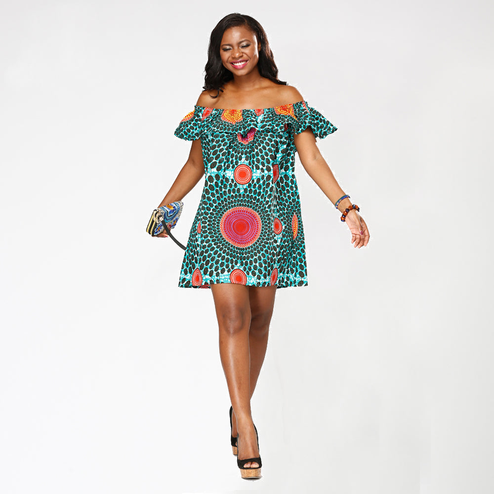 African Kitenge Wax Print Ankara Off-Shoulder Ruffled Mini Dress