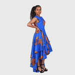 Traditional African Kitenge Wax Print Hollandaise Blue High Low Hem Sleeveless Dress