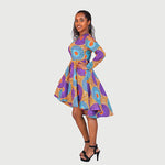 Traditional African Kitenge Wax Print Hollandaise Violet High Low Hem Long Sleeve Shoulder Cut Out Dress
