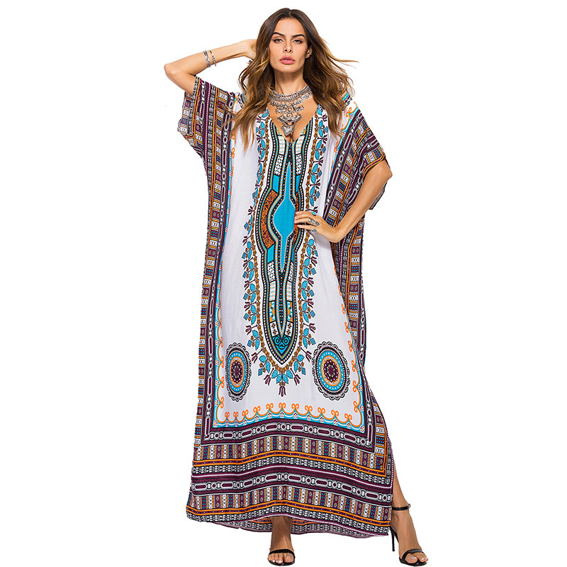 Casual Traditional African Kitenge Dashiki Print Loose Long Dress Design