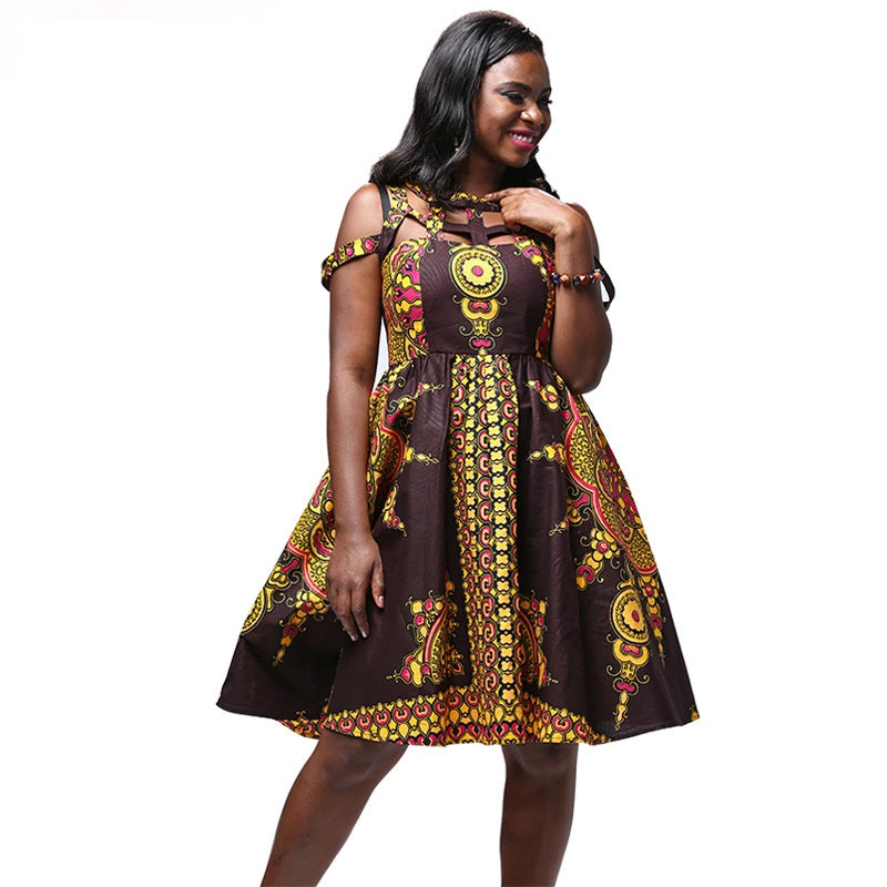 African Kitenge Wax Print Ankara Off Shoulder Sleeveless Knee Length Dress