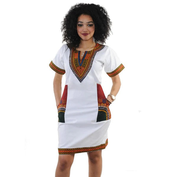 Traditional African Kitenge Dashiki Kanga Print Fitted Above Knee One Piece Dress