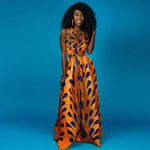 Traditional African Dashiki  Kitenge  Kanga Wax Print Halter Sleeveless Long Summer Maxi Party Dress