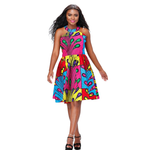 African Kitenge Wax Print Ankara Above Knee Criss Cross Back Sun Dress