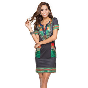 Traditional African Kitenge Dashiki Print Dress Design Fitted Above Knee