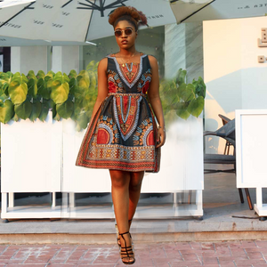 African Kitenge Wax Print Ankara Square Neck Sleeveless Knee Length Dress