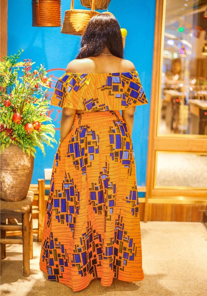 Traditional African Dashiki Kitenge Wax Print Long Skirt + Tube Top Dress