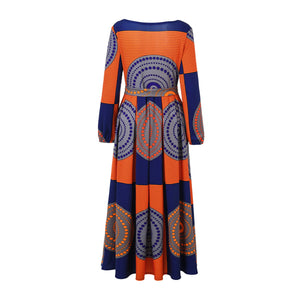 African Kitenge Wax Print Ankara Long Sleeves Long Maxi Dress