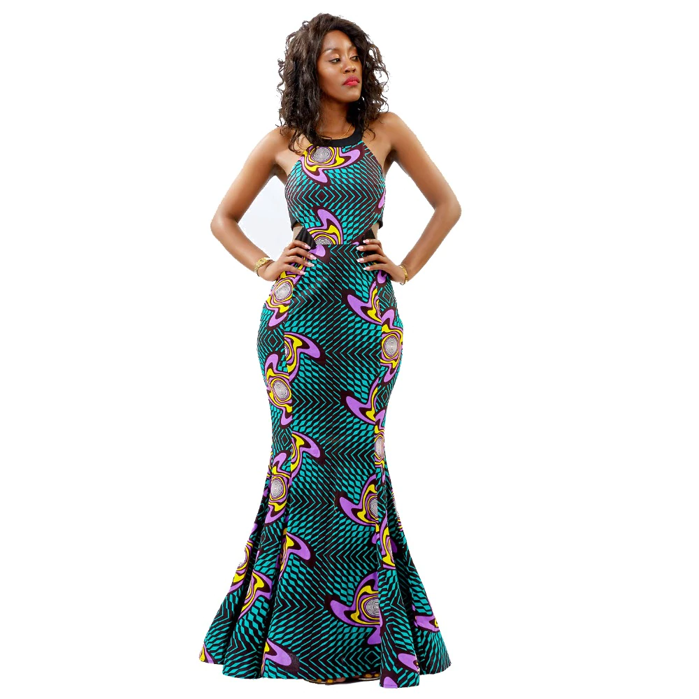 Traditional African Kitenge Wax Print Formal Backless Fish Tail Dress