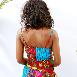 Hand Made Traditional African Kitenge Wax Print Sling Zipper Pants With Spaghetti Crop Top