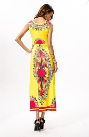 African Kitenge Wax Print Ankara Batik Bohemian Sleeveless Long Dress
