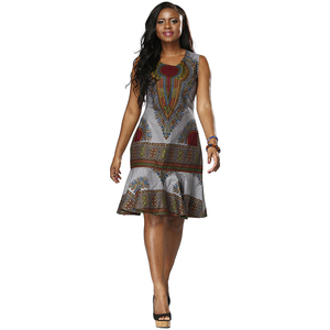 Traditional African Kitenge Dashiki Print Design Batik Above Knee Sleeveless Dress