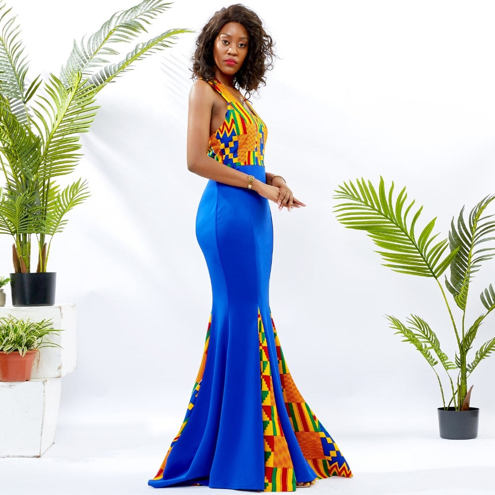 Traditional African Dashiki Kitenge Wax Print Sleeveless Maxi Backless Splicing Dress