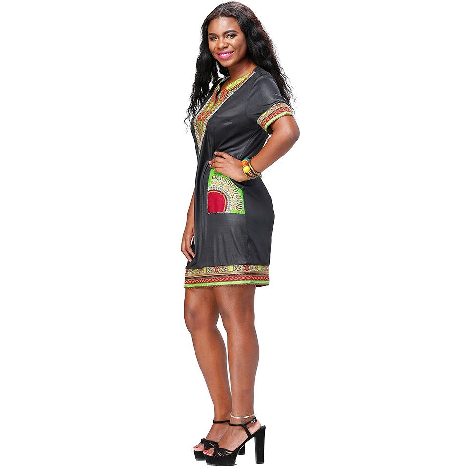 Traditional African Kitenge Dashiki Print Design Fitted Above Knee Black Dress Bazin Riche Vestidos