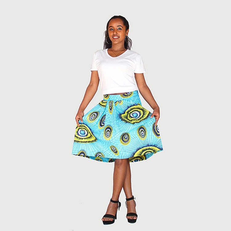Trendy African Traditional Wax Print Aqua Green Color Drindl Pleated Knee Length Skirt
