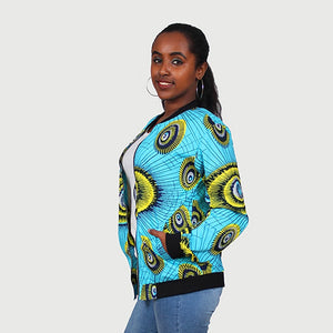Traditional African Ankara Wax Print Uni Sex Aqua Blue Bomber Jacket