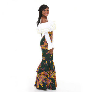 100% Handmade African Kitenge Wax Print Ankara One Shoulder Fish Tail Dress