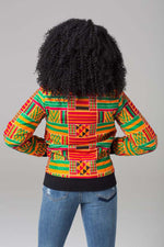 Traditional African Ankara Wax Print Colorful Tribal Patterned Unisex Bomber Jacket