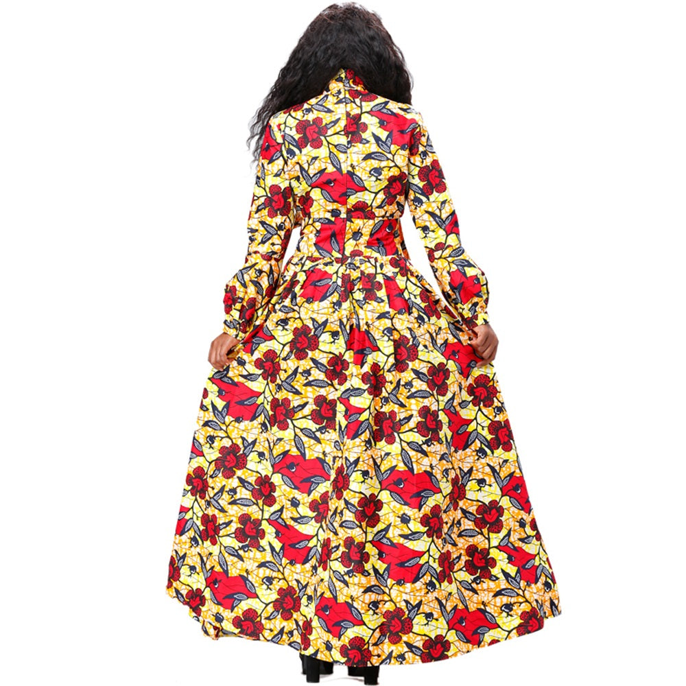 African Kitenge Wax Print Ankara Floral Full Sweep Bowknot Long Dress