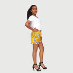Fancy African Traditional Wax Print Yellow Color Shorts