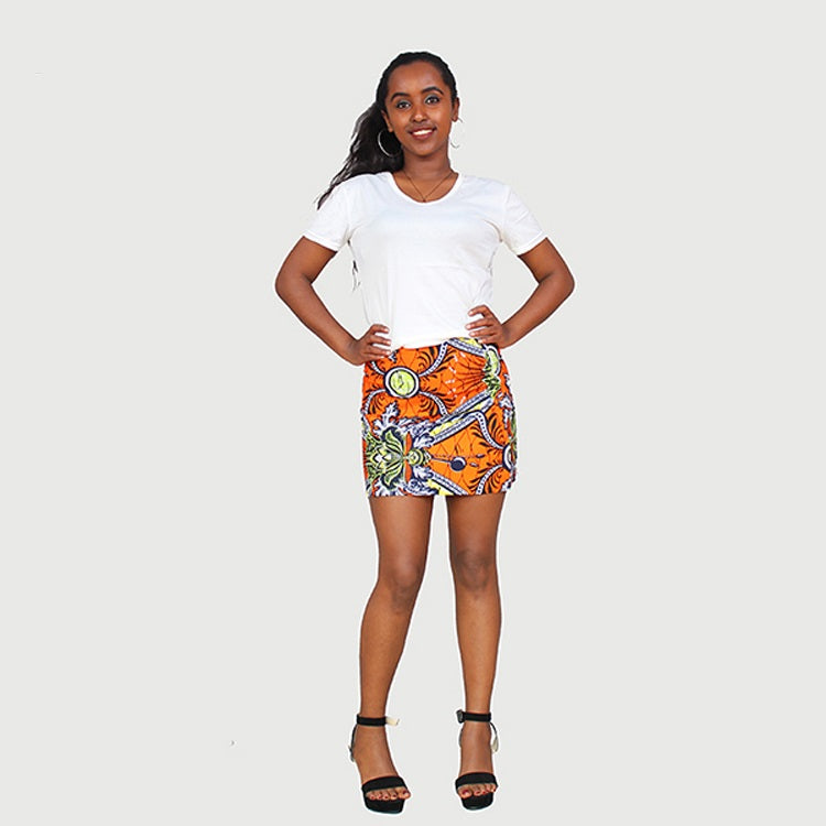 Fancy African Traditional Wax Print Gold Color Mini Skirt