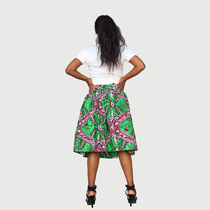Chic African Traditional Wax Print Green Color Drindl Pleated Knee Length Skirt