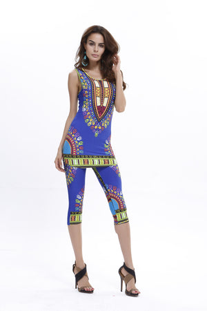 Fashionable African Kitenge Dashiki Print Tank Top Shirt With Leggings
