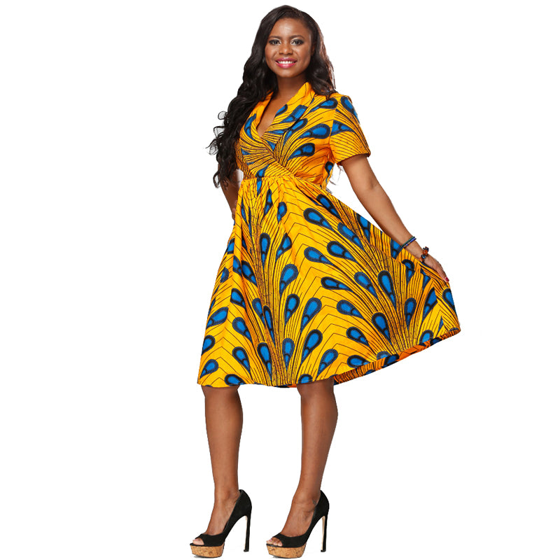 African Kitenge Wax Print Ankara Retro Inspired Wrap Short Sleeve Dress