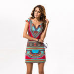Traditional African Kitenge Dashiki V-Neck Sleeveless Print Dress Design Fitted Above Knee
