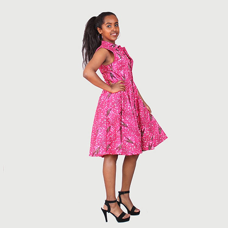 Traditional African Kitenge Wax Print Hollandaise Pink Knee Length Sleeveless Dress