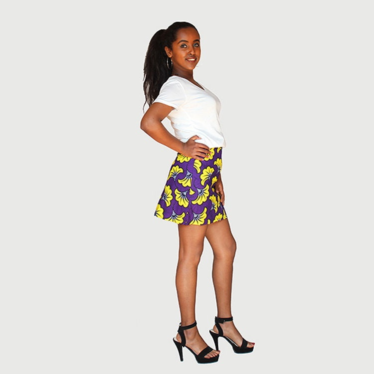 Fancy African Traditional Wax Print Purple And Yellow Color Mini Skirt
