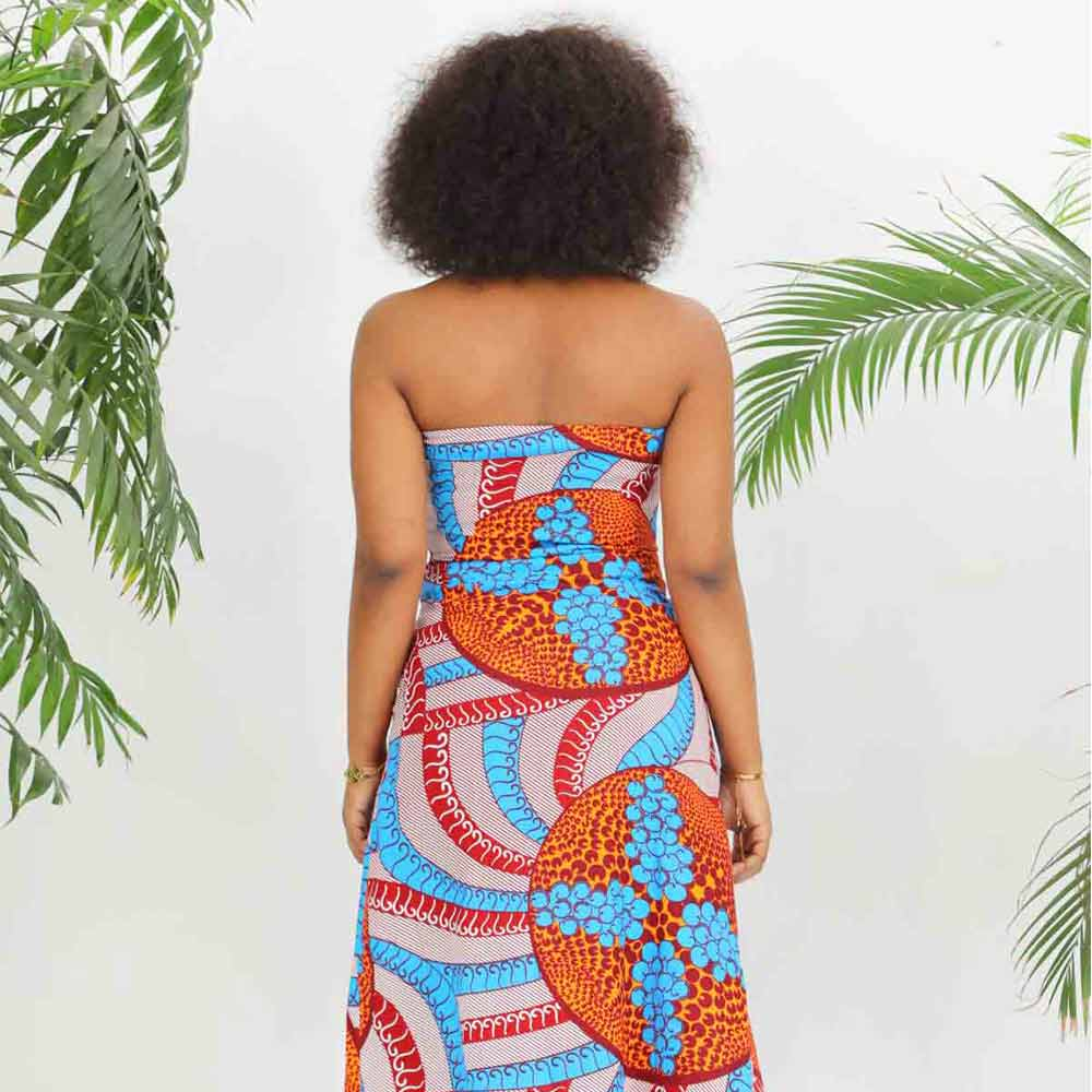 African  Kitenge Ankara Wax Print Strapless Dress With Slit