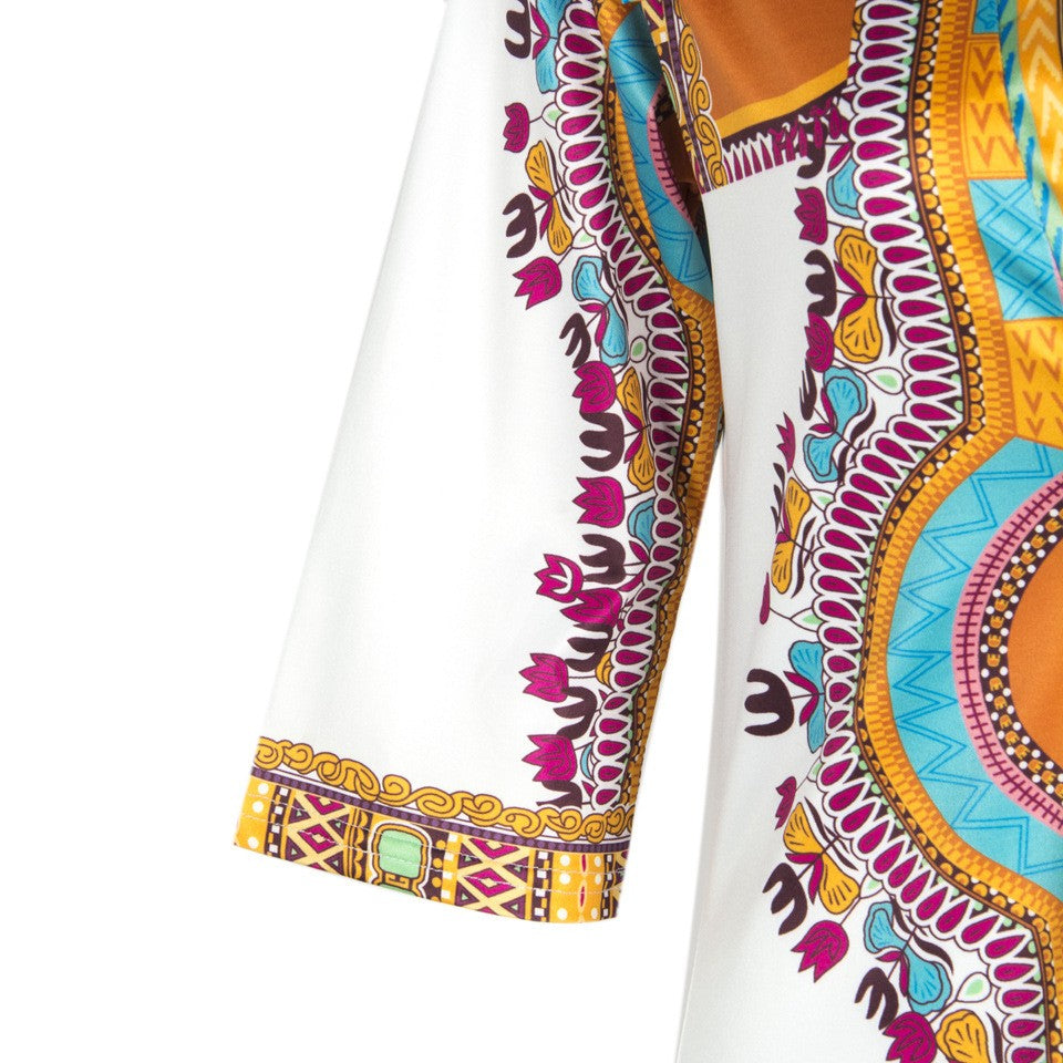 Sexy Traditional African Kitenge Dashiki Print Fit White Dress Design