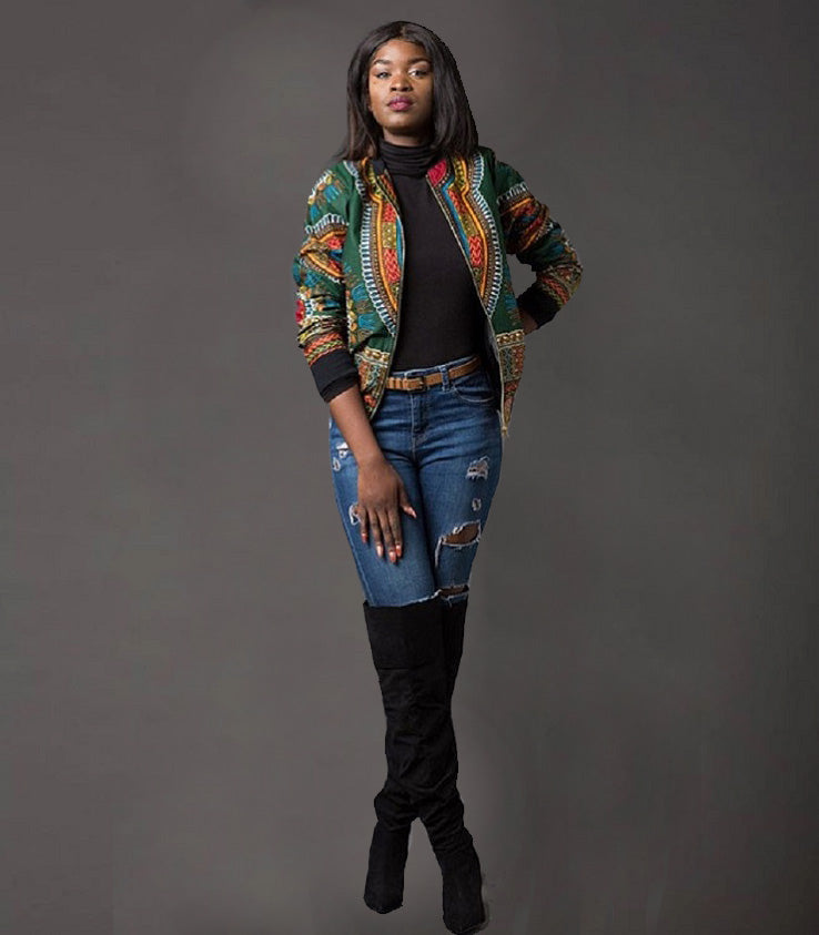 Traditional African Ankara Wax Print Colorful Zip Up Bomber Jacket