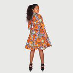 Multi Color Traditional African Kitenge Wax Print Hollandaise Orange Knee Length Dress