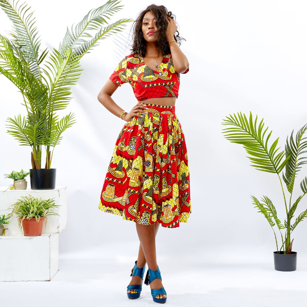 Traditional African Kitenge Wax Print Ankara Skirt + Short Sleeve MidriffTop