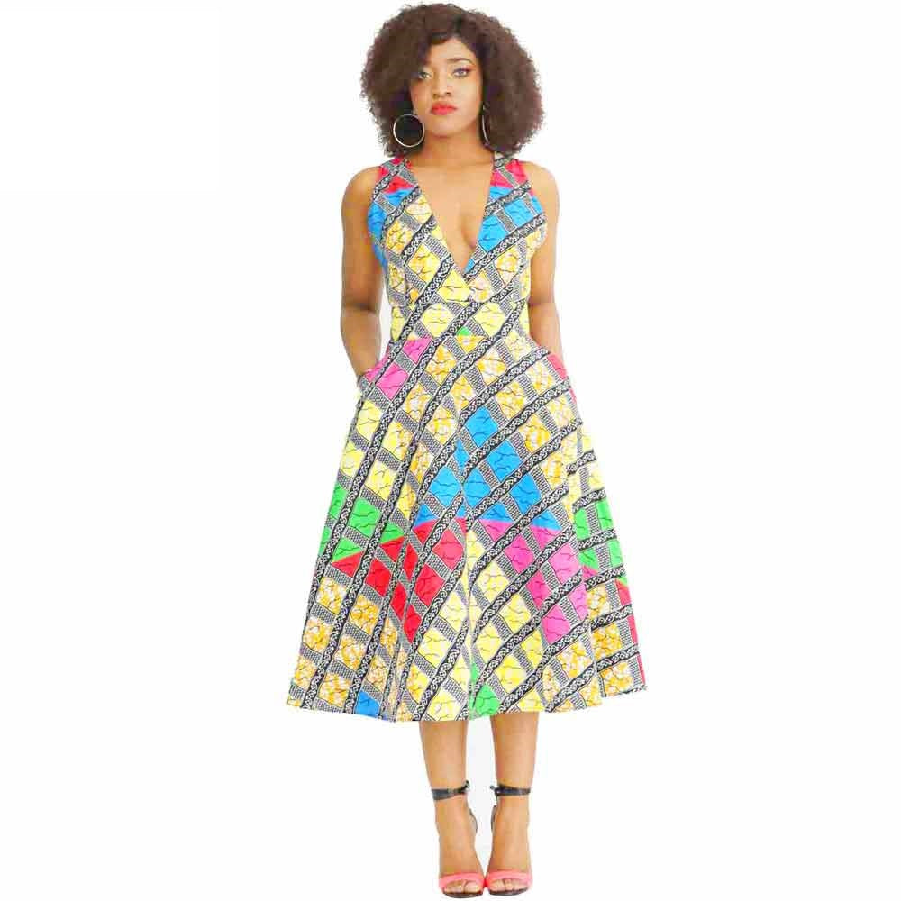 Traditional African Dashiki Ankara Kitenge Wax Print Low Cut Sleeveless Party Dress