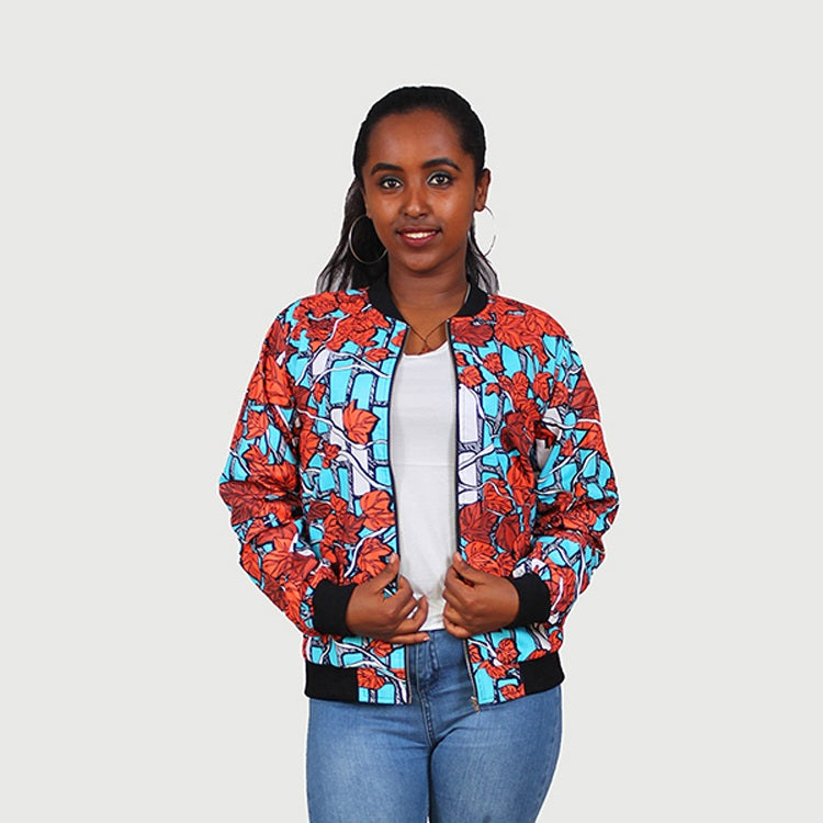 Traditional African Ankara Wax Print Multi Color Leaf Design Bomber Jacket