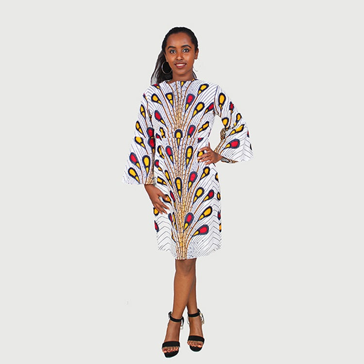 Traditional African Kitenge Wax Print Hollandaise White Ground Peacock Pattern Knee Length  Long Sleeve Dress