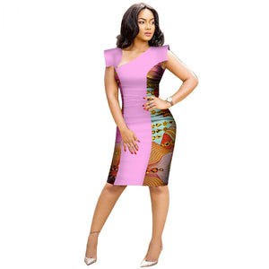 Traditional African Kitenge Dashiki Kanga Print Fitted Knee Length One Piece Dress